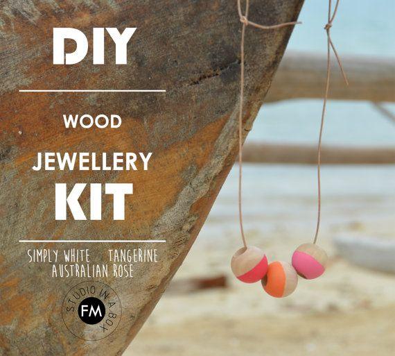 DIY Wood Jewellery Kit Simply White Tangerine by FINDERMAKERSHOP