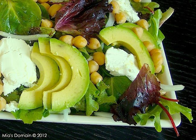 Mia's Domain | Real Food: Goat Cheese Chickpea Avocado Salad