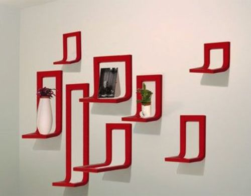 shelves picture frames in red