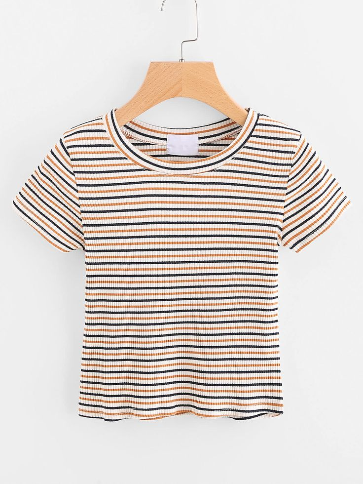 Shop Striped Ribbed Tee online. SheIn offers Striped Ribbed Tee & more to fit yo... 1