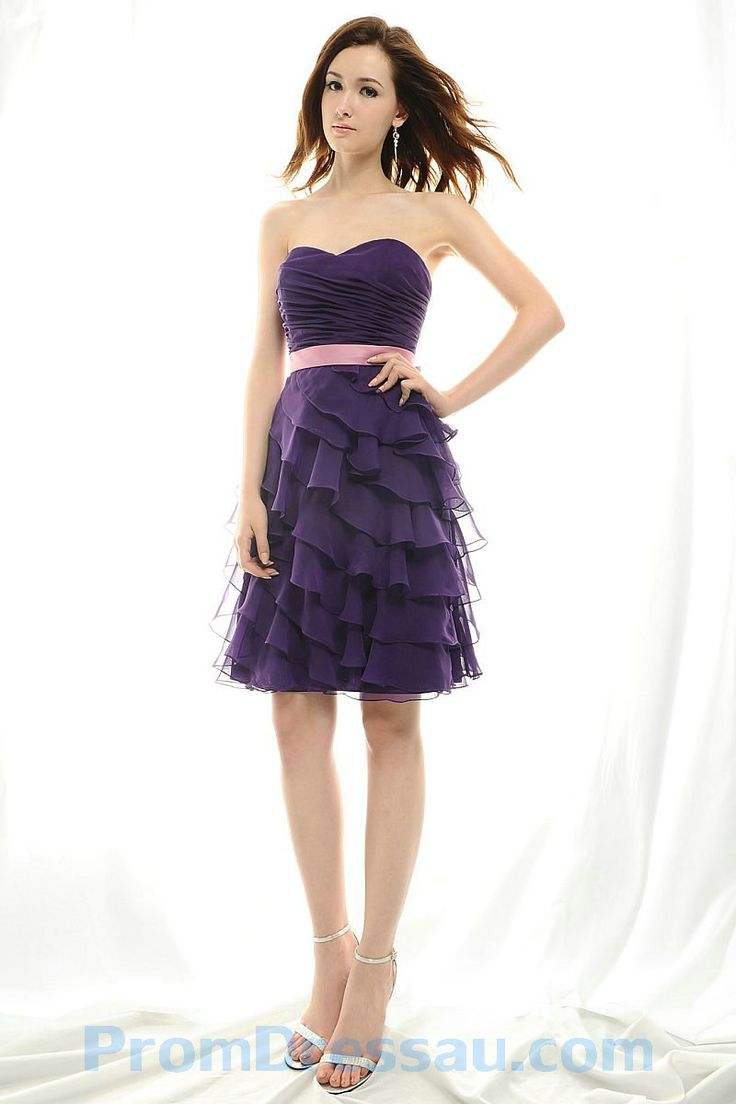 28 best pretty in purple bridesmaid dresses images on pinterest ruffles sweetheart chiffon knee length purple bridesmaid dress with pink sash ombrellifo Image collections