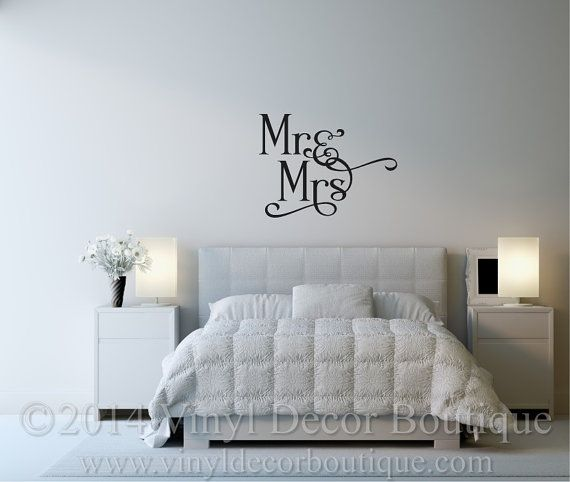 Mr and Mrs Vinyl wall decal for master by VinylDecorBoutique & 23 best Master Bedroom Wall Decals images on Pinterest | Bedroom ...