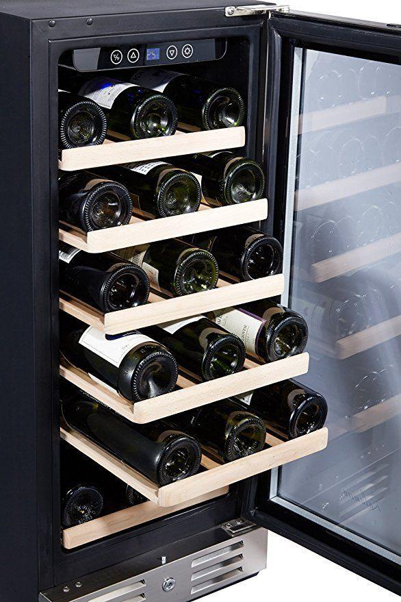 Amazon Com Kalamera 15 Wine Cooler 30 Bottle Built In Or Freestanding With Stainless Ste Built In Wine Refrigerator Built In Wine Cooler Tempered Glass Door