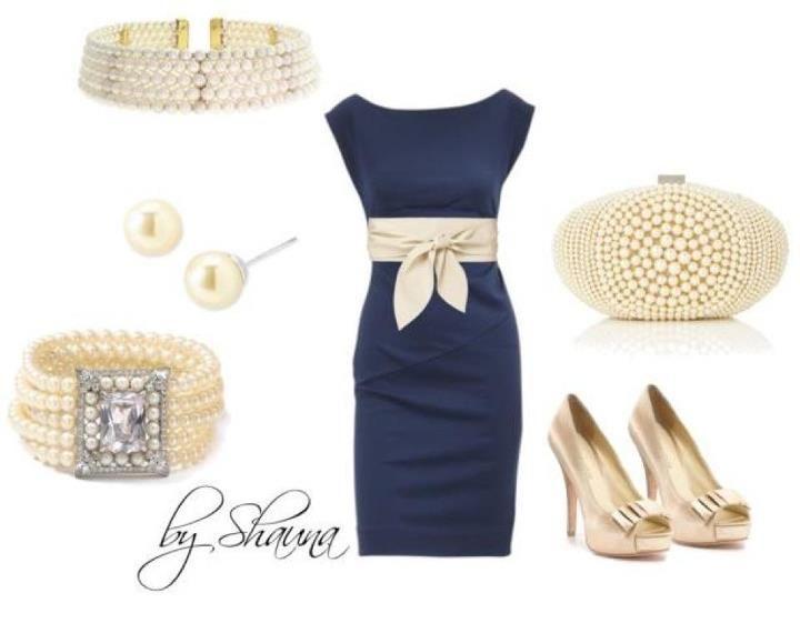 Vestido azul marino dorado para tu closet p pinterest for How to accessorize a navy blue dress for a wedding