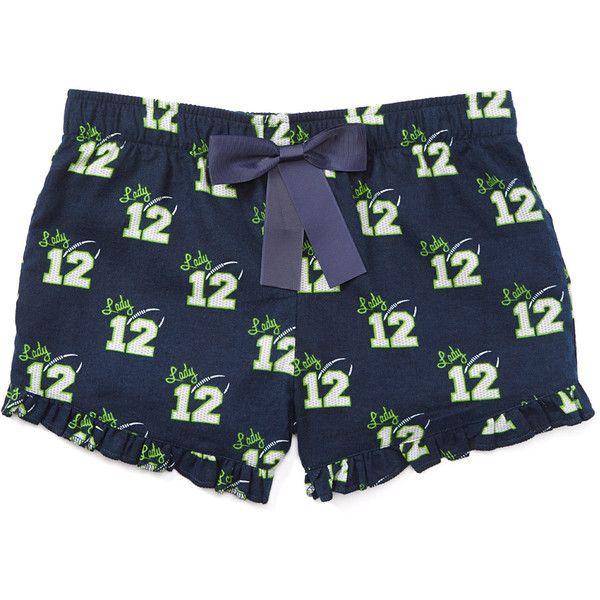 Lady 12 'Lady 12' Seattle Seahawks Pajama Shorts ($20) ❤ liked on Polyvore featuring intimates, sleepwear, pajamas, cotton pajamas, cotton sleepwear and cotton pjs