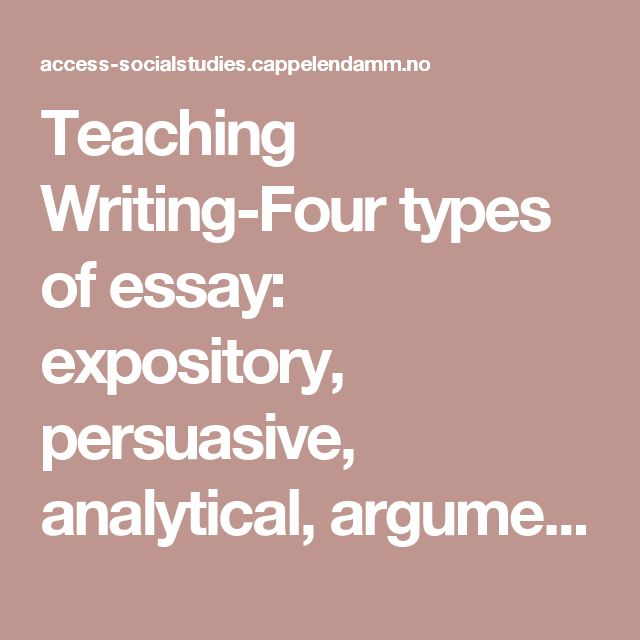 Teaching Writing-Four types of essay: expository, persuasive, analytical, argumentative