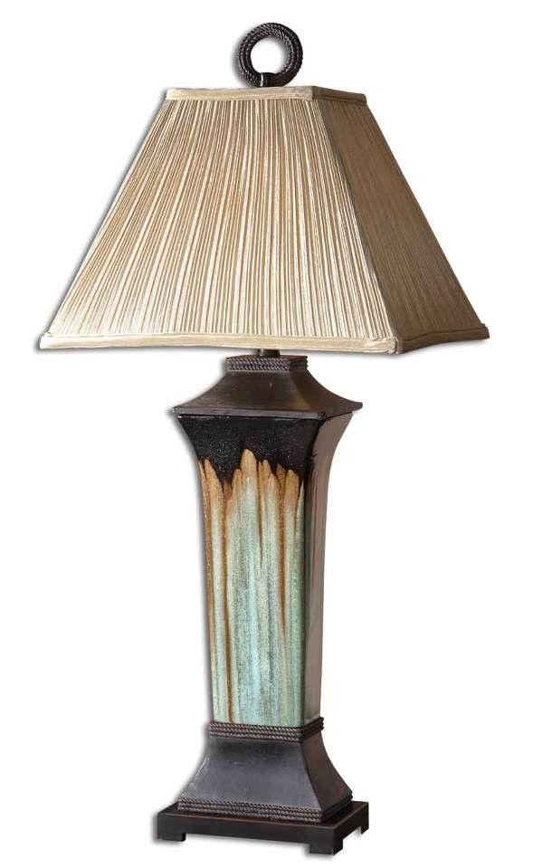 Olinda table lamp light green and metallic brown porcelain lampsusa