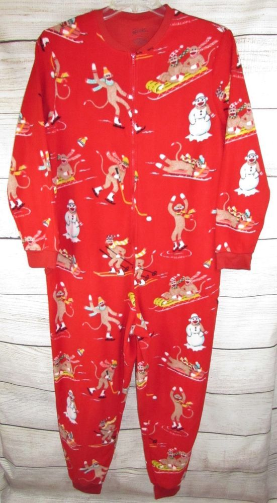 78d0927482 Nick   Nora SOCK MONKEY Fleece Pajamas Union Suit Adult Womens L LARGE  Footless  NickNora  OnePiece  Everyday