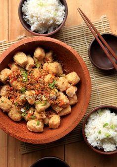 Tahu Crispy Siram Cabai (Crispy Spicy Indonesian Tofu)