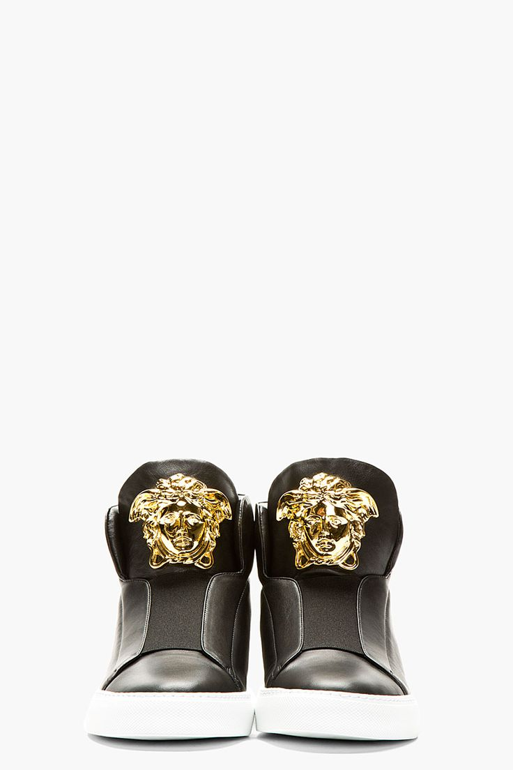 VERSACE Black Leather Medusa High-Top Sneakers