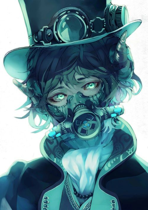 Steampunk anime (-^〇^-) | We Heart It | anime, mask, and boy