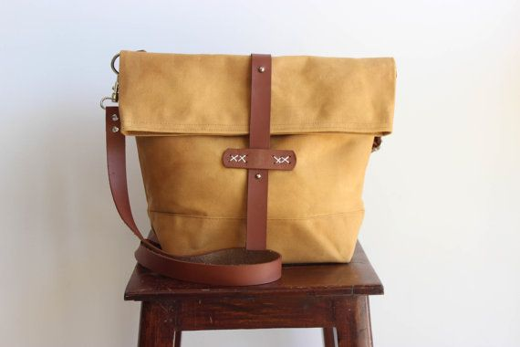 Waxed canvas bag, waxed canvas messenger bag, waxed canvas shoulder bag, waxed…