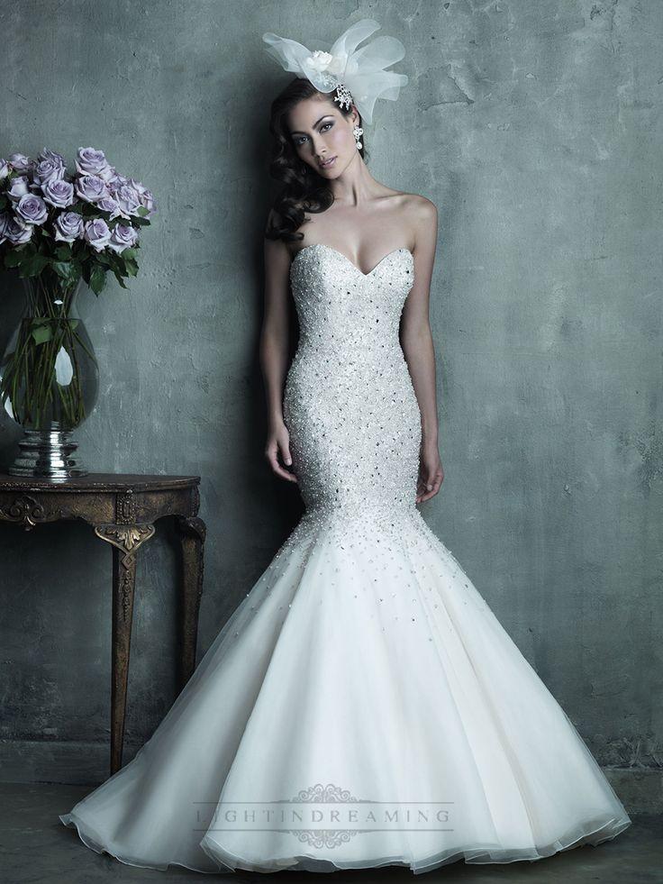 Strapless Sweetheart Beaded Bodice Mermaid Wedding Dresses