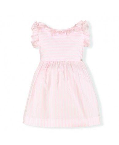 a11eec73e Vestido rosa empolvado a rayas con cuello redondo. La espalda acaba en pico  con una