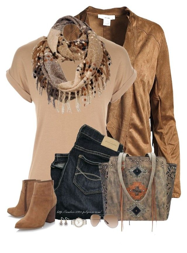 """Navajo Soul Tote"" by amber-1991 ❤ liked on Polyvore featuring Sans Souci, Wilsons Leather, Abercrombie & Fitch, Nine West, American West, Kim Rogers, Ray-Ban, Michael Kors, suede and neutrals"
