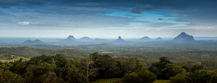 The Glasshouse Mountains - a single shot cropped in 3:1 pano format, taken at Maleny in Queensland, Australia.