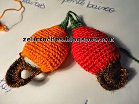 Receita para fazer o caju de crochê         Primeiro a parte marrom:              Depois a parte laranja:              Corpo do caju, até o ...