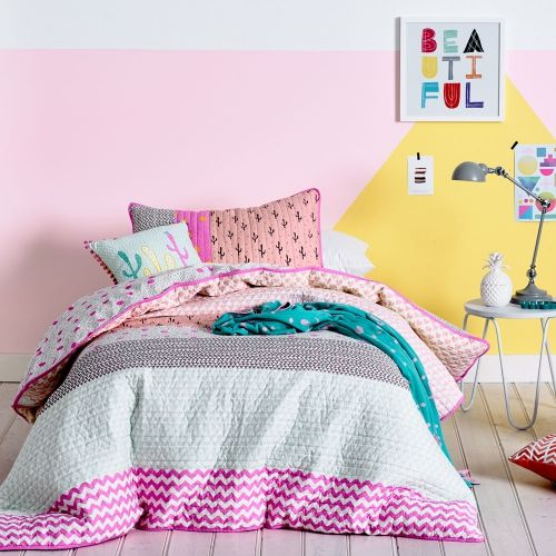 A stunning quilted design with cotton fill that features a combination of feminine pastel colours and rich textured patterns, the Evie quilt cover set from Adairs Kids will bring a quirky style to your little ones room. Perfect for use with a quilt in winter and without in the warmer months, Evie offers versatility and will be a favourite for years to come.