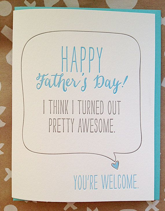 Father's Day Card. Awesome Father's Day Card. I think I turned out pretty awesome. You're welcome. on Etsy, $5.50