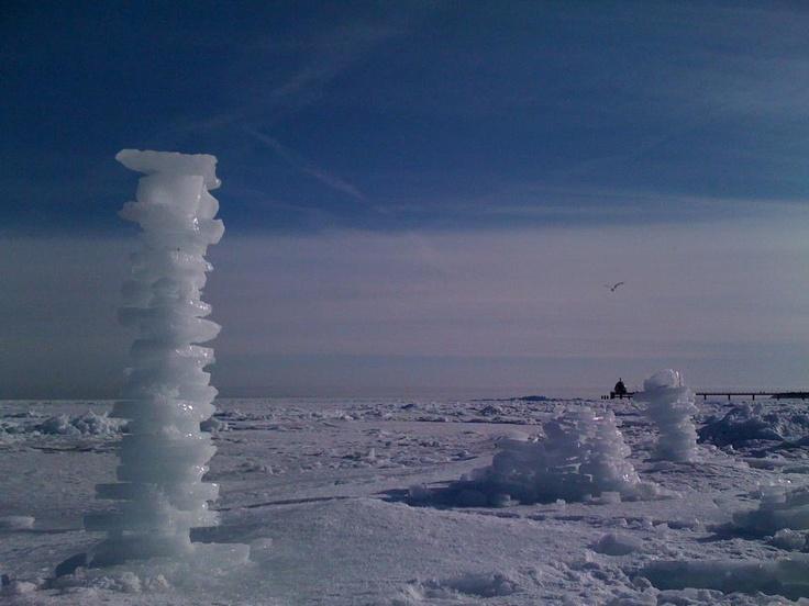 Eisskulpturen am Strand von Zinnowitz auf der Insel #Usedom #Baltic Sea #Ostsee
