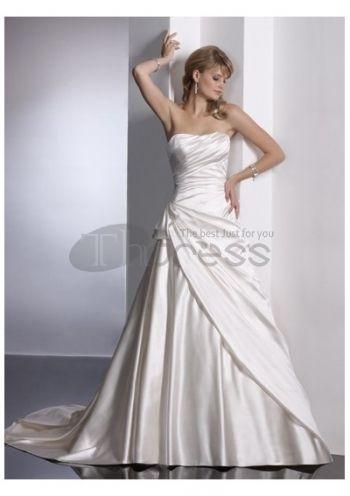 Abiti da Sposa in Pizzo-Semplici bei vestiti da sposa senza spalline