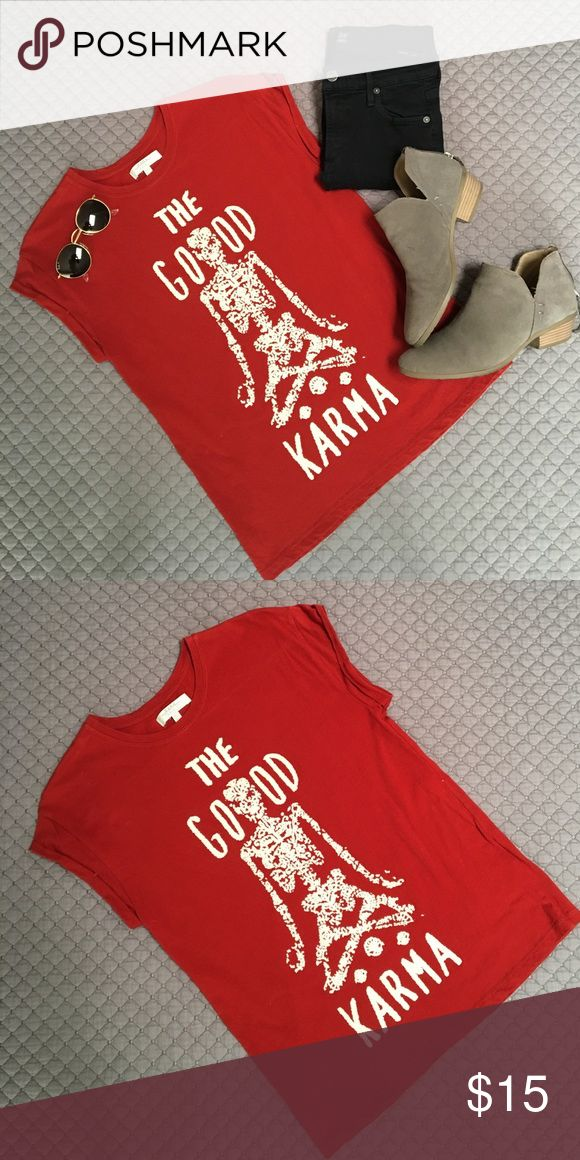 "ZARA Trafaluc The Good Karma Tee Cute, comfy ZARA Trafaluc red tee with beaded ""the good karma"" image. Only worn once. Excellent condition. Zara Tops Tees - Short Sleeve"