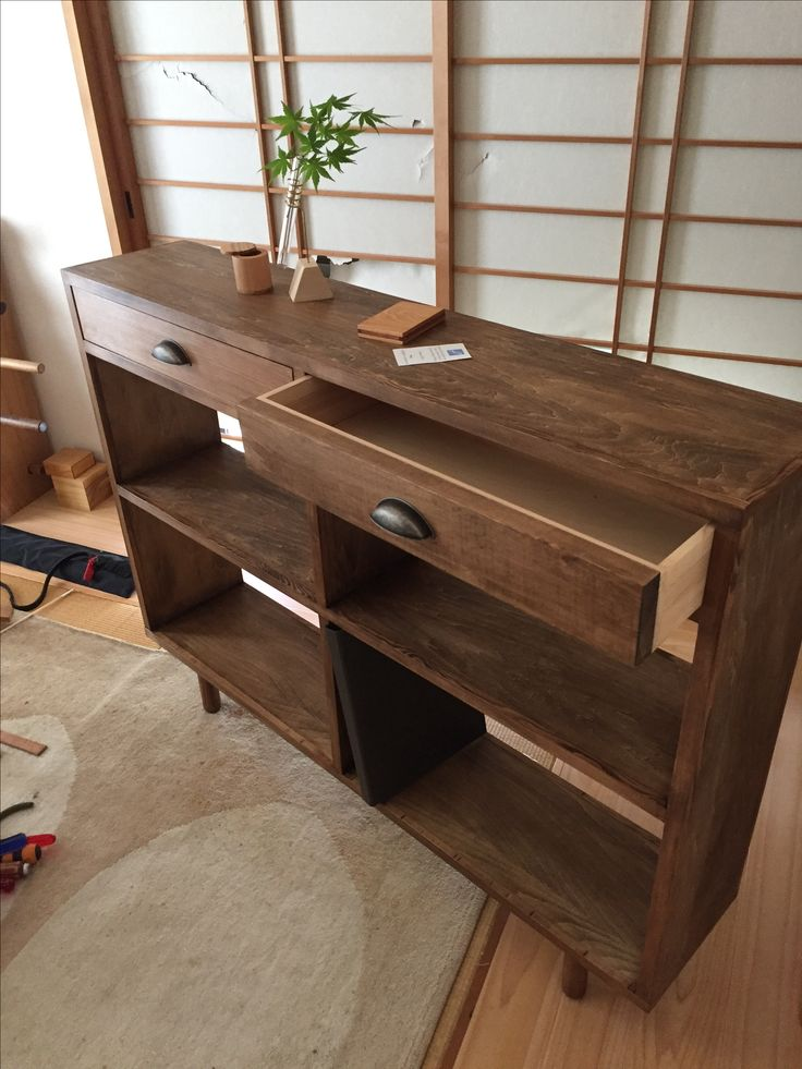 Side cabinet. Plywood with trim and wax finish.