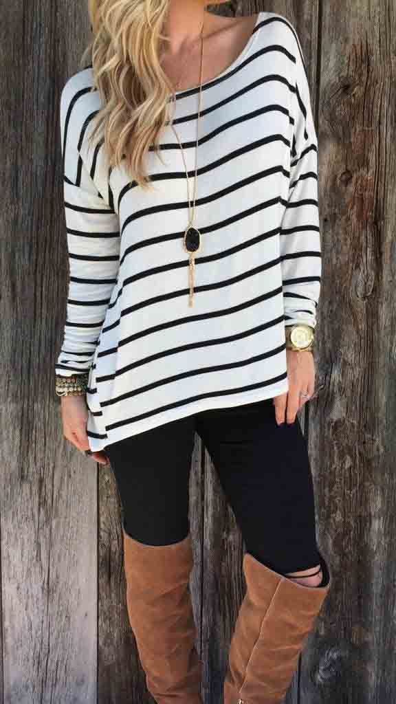 Only $24.99! Fashion Stripe Top Long Sleeve Shirt. fashion outifit, warm outfit, fashion trend.
