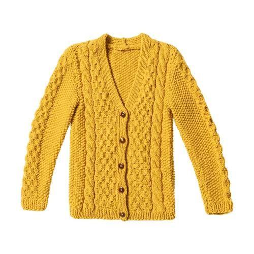 Wabenmuster, Perlmuster, Zöpfe – der gelbe Cardigan ist ein Stück für Könner…