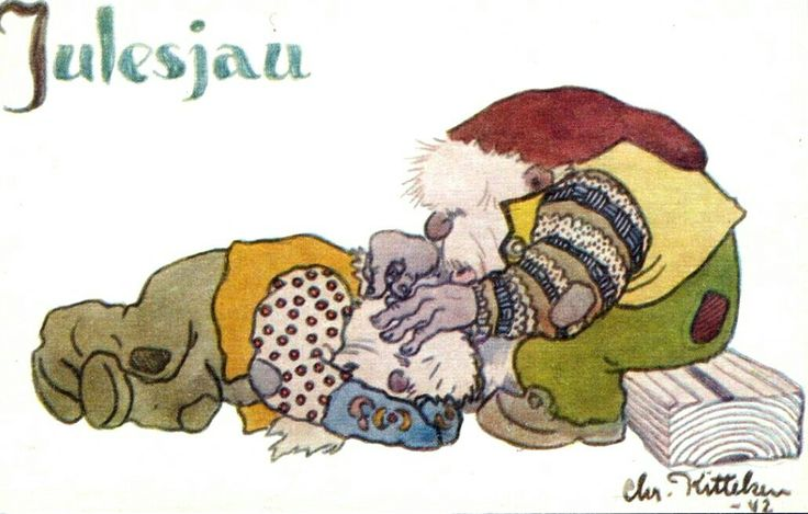 """Julekort KITTELSEN, Chr. """"Julesjau"""". Utg Oppi"""