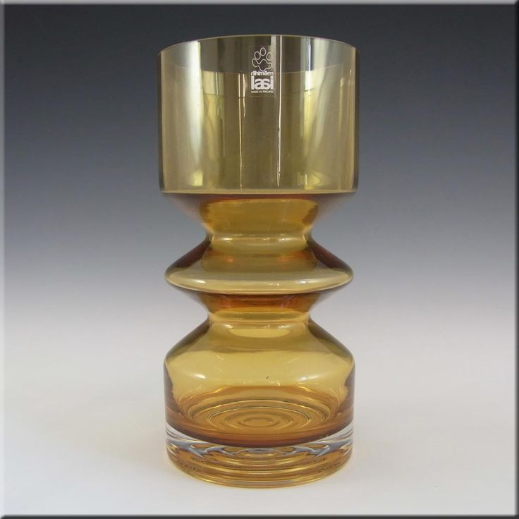Riihimaki/Riihimaen Tamara Aladin Amber Glass Vase 1472 - £50.00