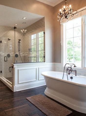 Perfect paneling to surround claw foot tub and shower in master bath