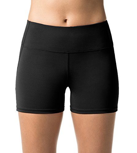 LAPASA Short Sport Femme Yoga Fitness Running Gym Élastique Stretch Gaine  Large L09 (40 L (Tour de Taille   68-78 cm) Noir (Double Épaisseur)) 9e7f69890fa
