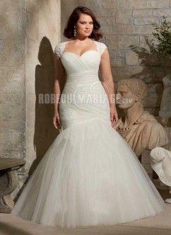Robe de mariée grande taille col en cœur dnetelle organza