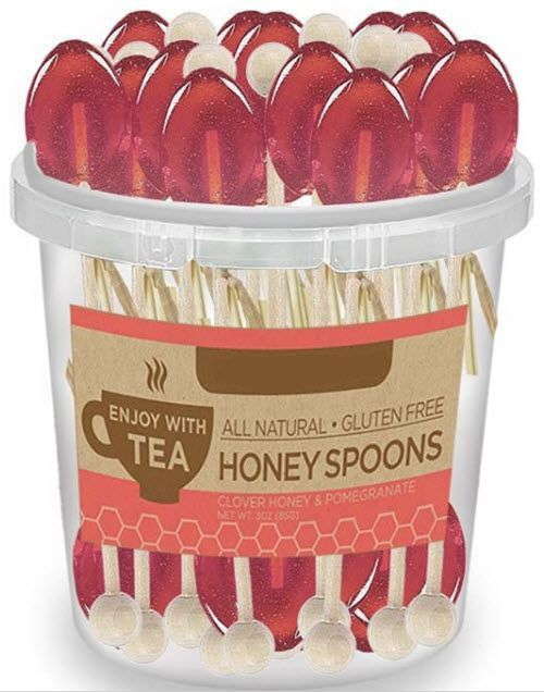 50 Individually Wrapped Pomegranate Honey Naturally Flavored Tea Spoons - Roses And Teacups