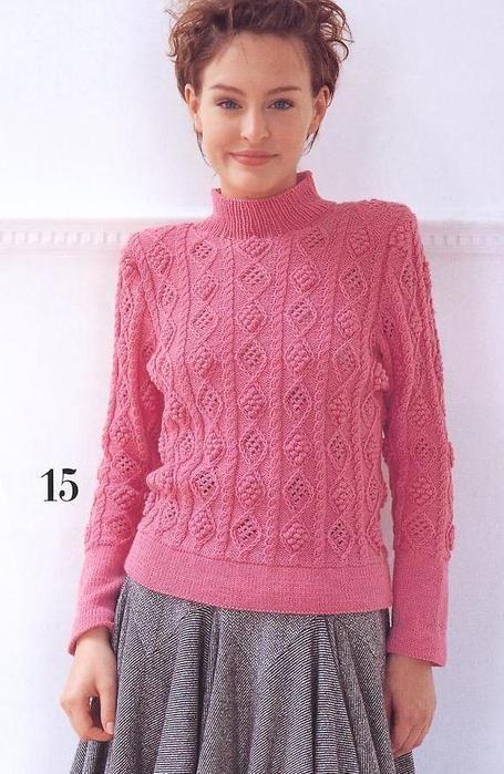 Спицы.Розовый свитер с фактурным узором. Обсуждение на LiveInternet - Российский Сервис Онлайн-Дневников