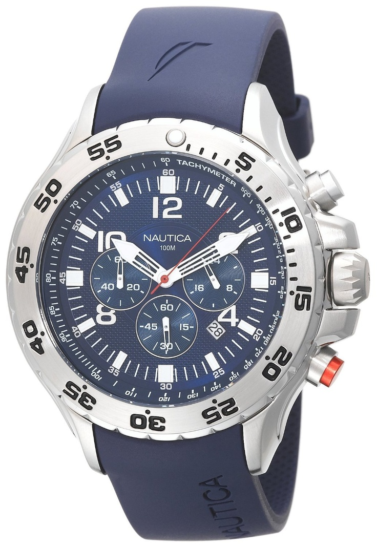 Nautica Men's N14555G NST Chronograph Watch > List Price:$155.00 > Sale: $93.62 > Warranty: Nautica 5-year warranty > Features: * Analog-quartz movement  * Mineral crystal  * Case diameter: 53.65 mm  * Stainless-steel case; blue dial; date function; chronograph functions  * Water-resistant to 330 feet (100 M) > Click on the image for latest price and offers.