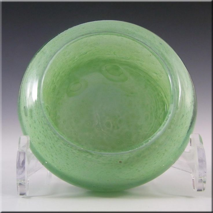 Nazeing British Clouded Mottled Green Bubble Glass Bowl - £20.00