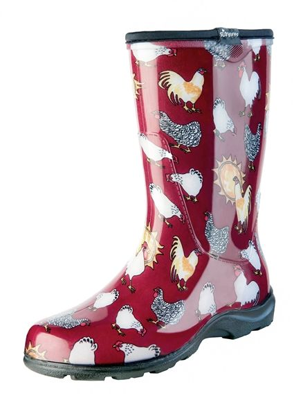 "Women's Rain & Garden Boot - Barn Red Chicken Print - Includes FREE ""Half-Sizer"" Insoles!"