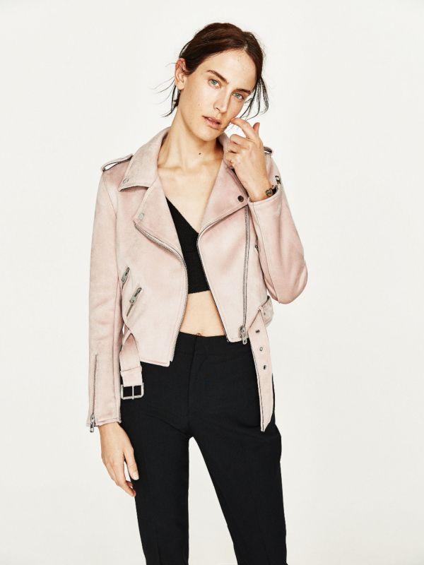 Ramoneska Zarka Biker Motocyklowa Zamszowa Z Paskiem Rozowa Leather Jackets Women Suede Jacket Women Leather Jacket