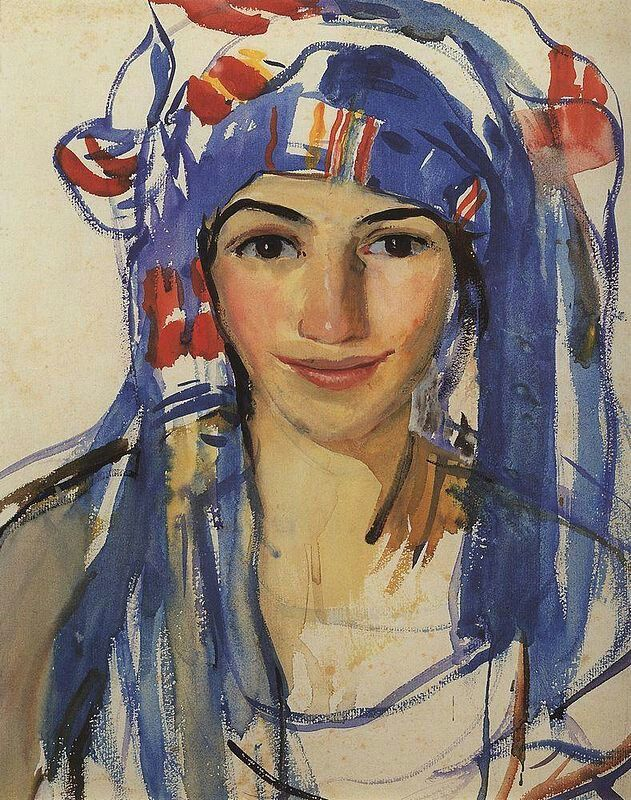 Zinaida Serebrjakova, 1911, Zelfportet met sjaal. Deze Russische schilderes werd geboren in een vooraanstaande kunstenaarsfamilie. Haar werk werd beïnvloed door het Impressionisme en Russische volkskunst. Ze schilderde landschappen, (zelf)portretten maar vooral ook veel naakten. Expressionisme.