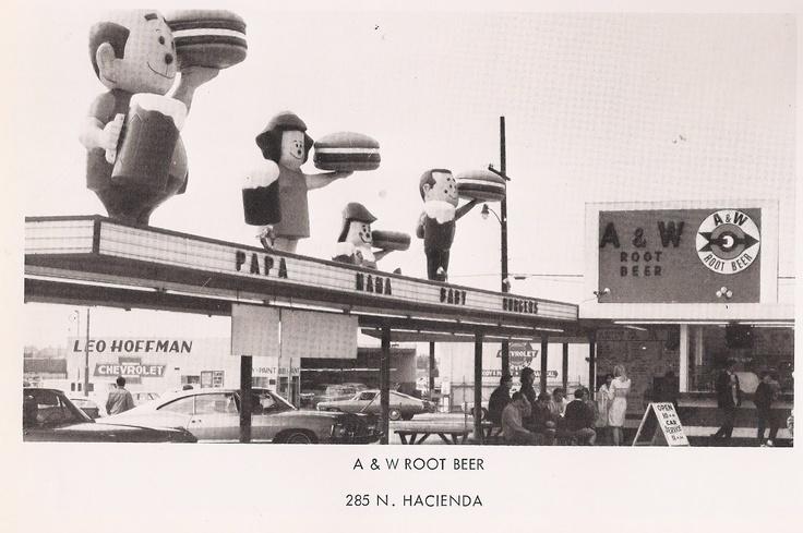 A & W Rootbeer 1965 La Puente  Papa, Mama, Baby burgers  A & W began in 1919 in Lodi, CA