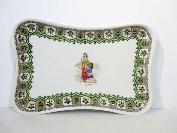 Tray Platter MZ Austria Moritz Zdekauer Vintage Greek Girl Flower Border White #ArtNouveau #MrotizZdekauer