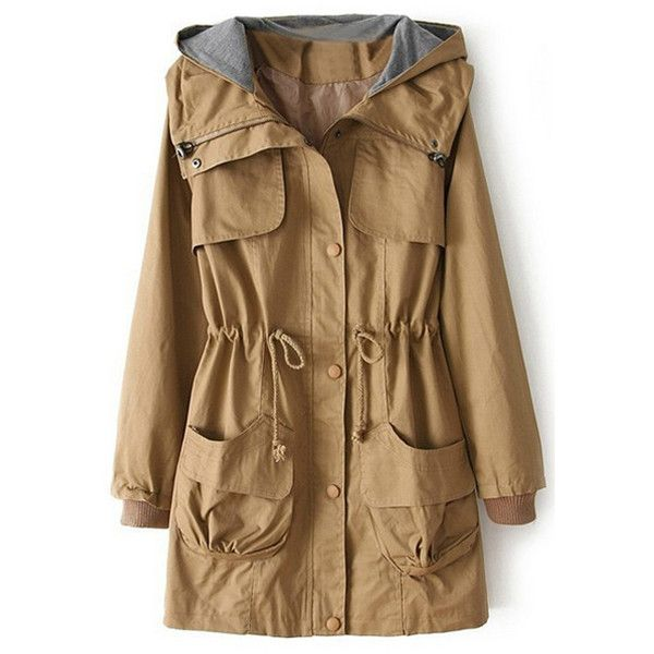 Hooded Drawstring Yellow Trench Coat (105 PEN) ❤ liked on Polyvore featuring outerwear, coats, jackets, tops, hooded trench coat, hooded coats, yellow coat, brown trench coat and hooded trenchcoat