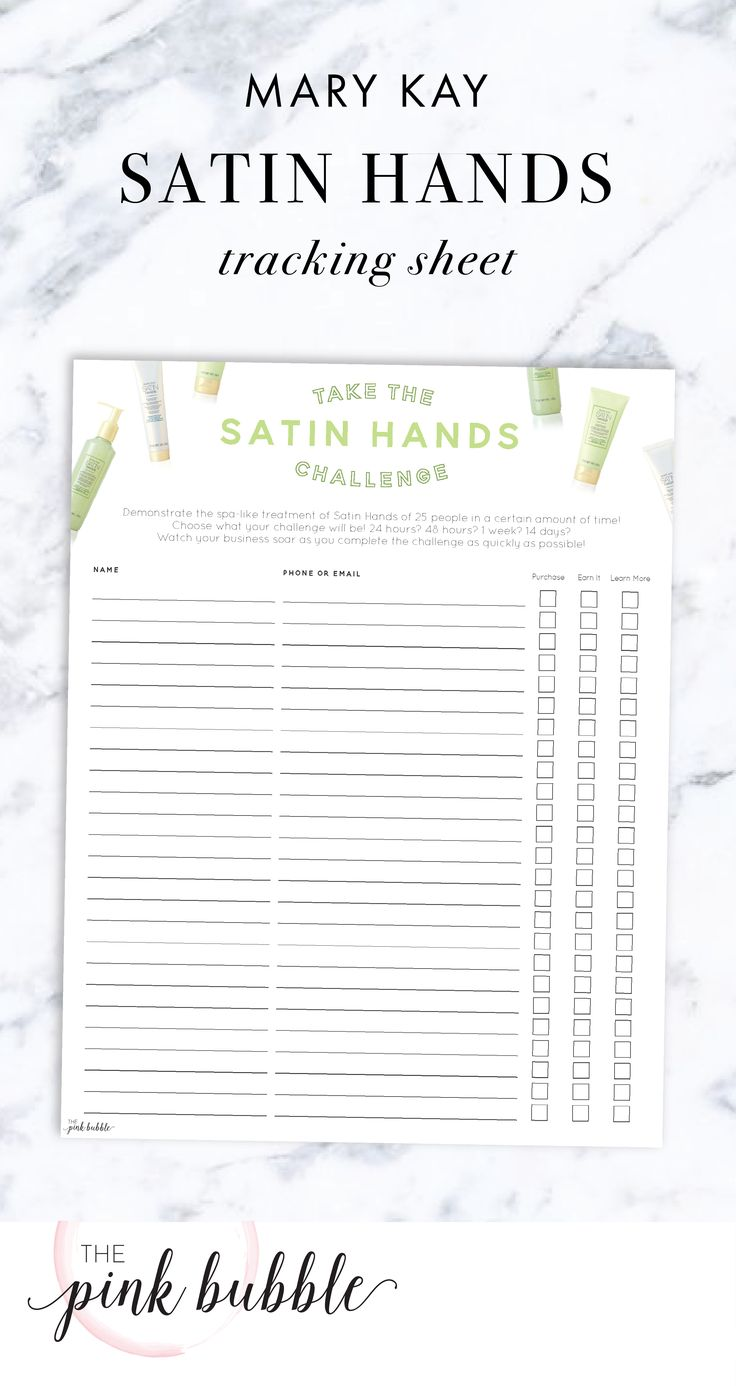 Mary Kay Satin Hands Challenge Tracking Sheet! Find it only at www.thepinkbubble.co!