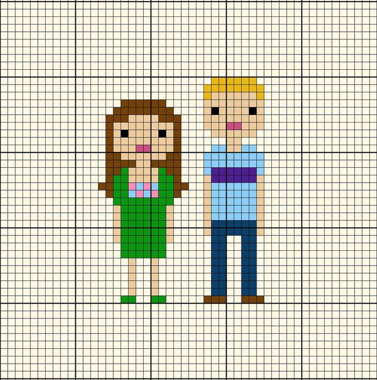 Pattern - Custom Family Portrait Pixel Cross Stitch Chart. $12.00, via Etsy.