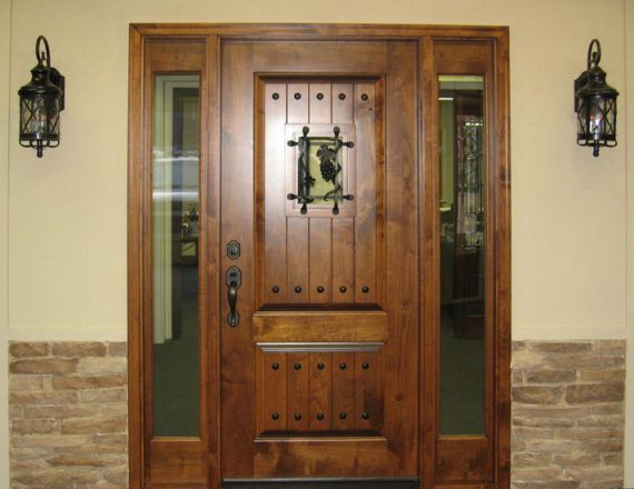 Knotty Alder Entry Door With Side Lite Tuscany Design Ex 1335