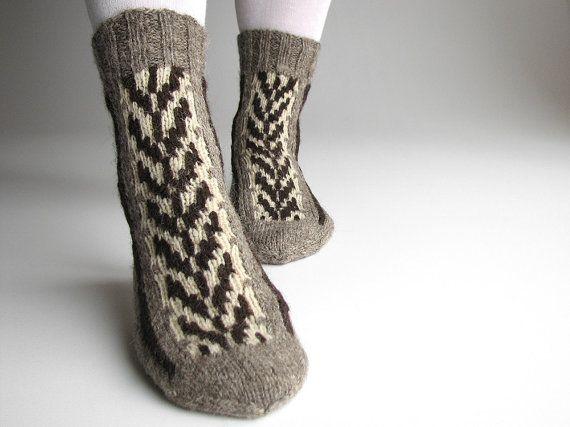 Patterned Women's Hand Knitted Woolen Socks  100 by milleta, €25.00