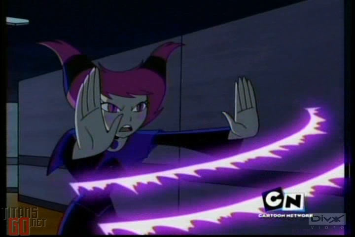 Jinx from Teen Titans using her powers.