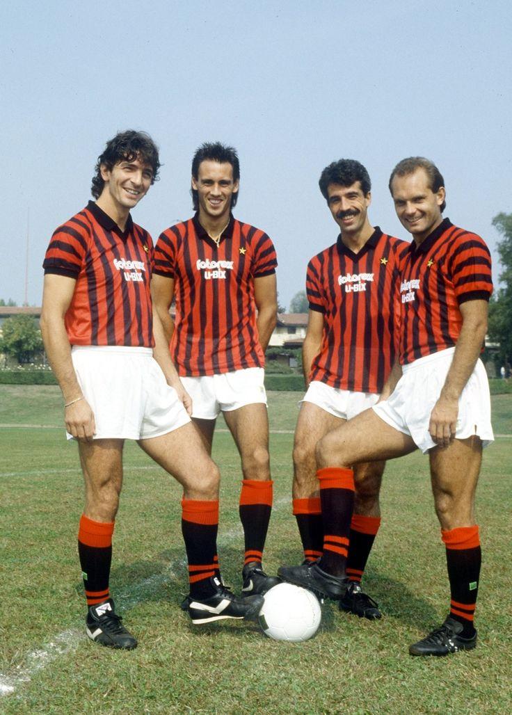 AC Milan: Rossi, Hateley, Virdis and Wilkins, Summer 1985.